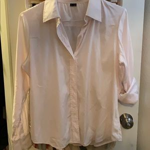Theory Pink Button Up Shirt Sz Large EUC!
